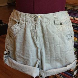 Ann Taylor adjustable length khaki tan shorts